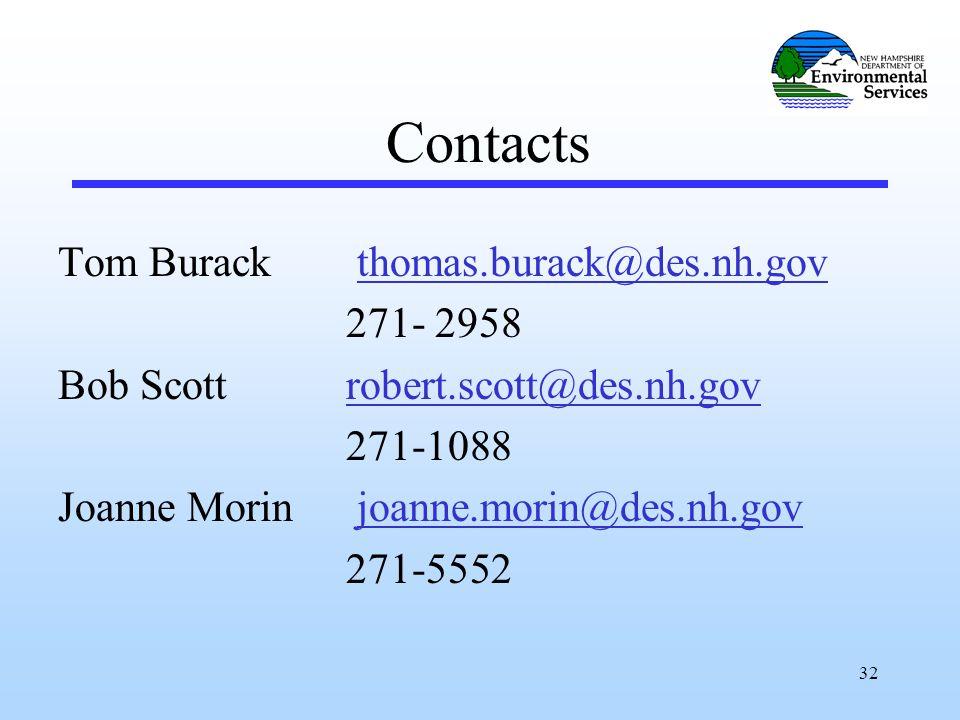 32 Contacts Tom Burack thomas.burack@des.nh.govthomas.burack@des.nh.gov 271- 2958 Bob Scott robert.scott@des.nh.govrobert.scott@des.nh.gov 271-1088 Joanne Morin joanne.morin@des.nh.govjoanne.morin@des.nh.gov 271-5552