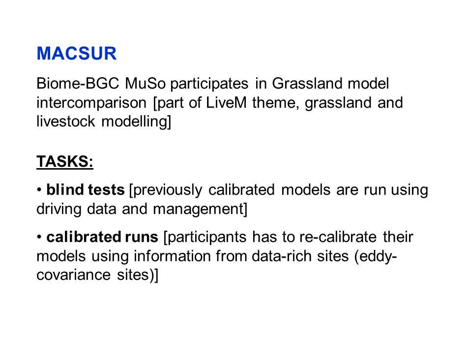 MACSUR Biome-BGC MuSo participates in Grassland model intercomparison [part of LiveM theme, grassland and livestock modelling] TASKS: blind tests [pre
