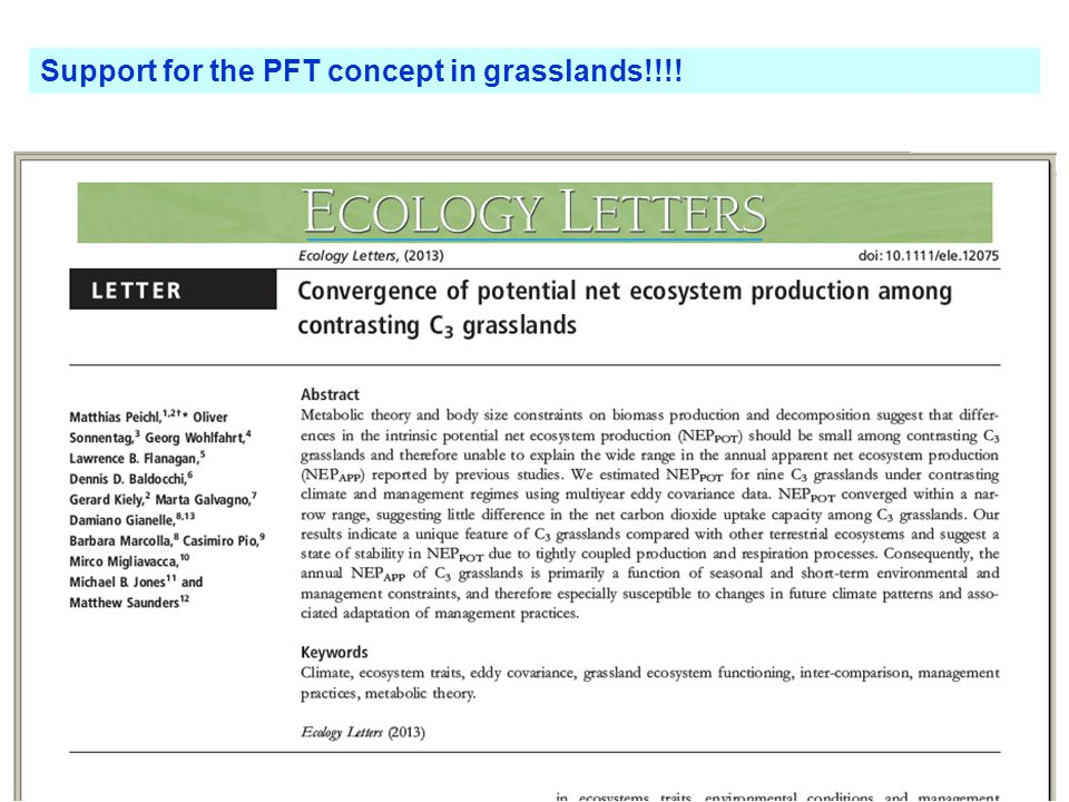 Support for the PFT concept in grasslands!!!!