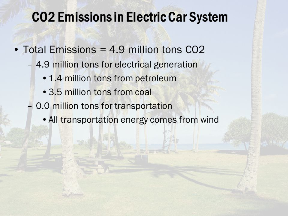 CO2 Emissions in Electric Car System Total Emissions = 4.9 million tons CO2 –4.9 million tons for electrical generation 1.4 million tons from petroleum 3.5 million tons from coal –0.0 million tons for transportation All transportation energy comes from wind