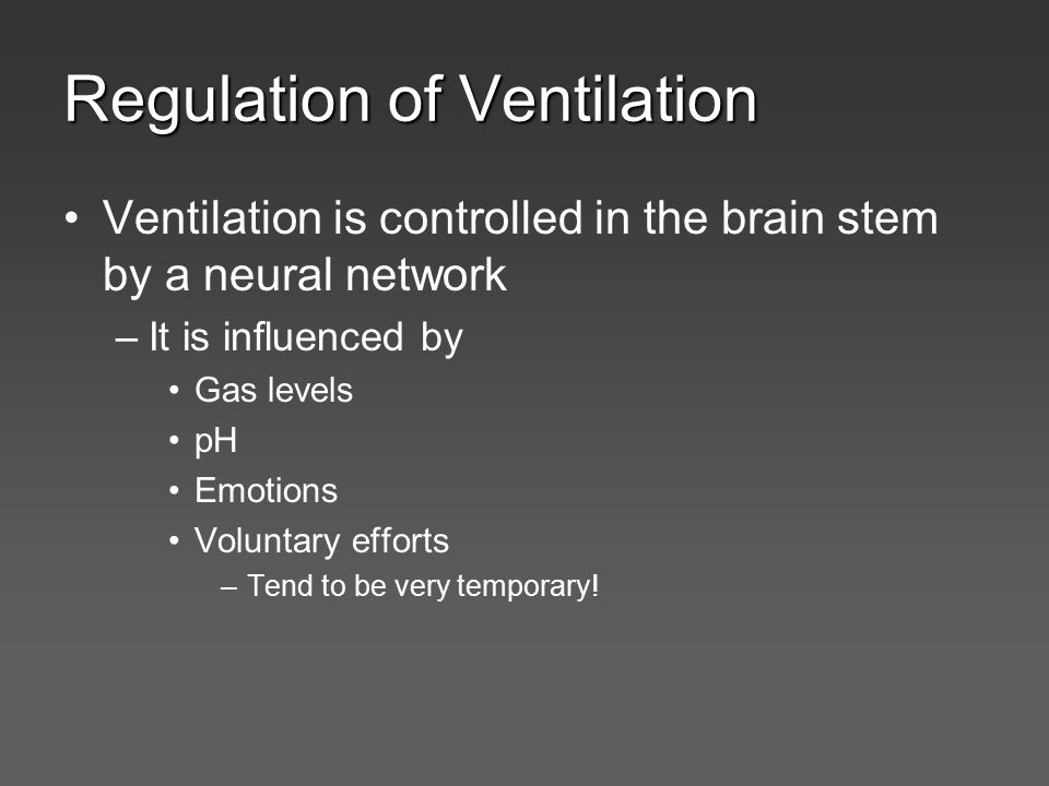 Regulation of Ventilation Ventilation is controlled in the brain stem by a neural network –It is influenced by Gas levels pH Emotions Voluntary effort