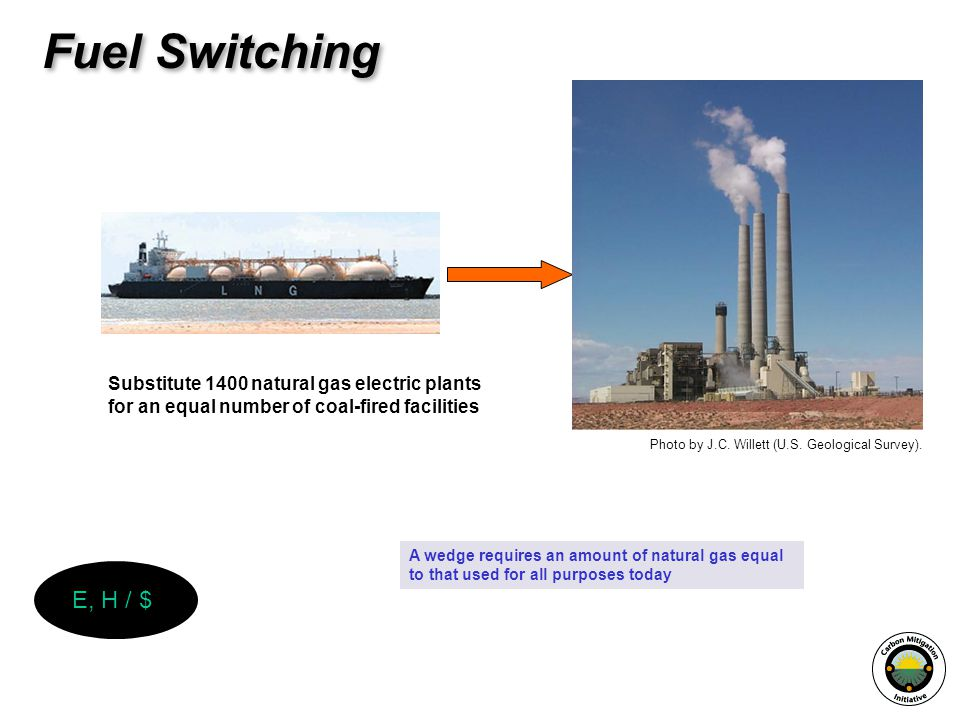 Substitute 1400 natural gas electric plants for an equal number of coal-fired facilities A wedge requires an amount of natural gas equal to that used for all purposes today Fuel Switching Photo by J.C.