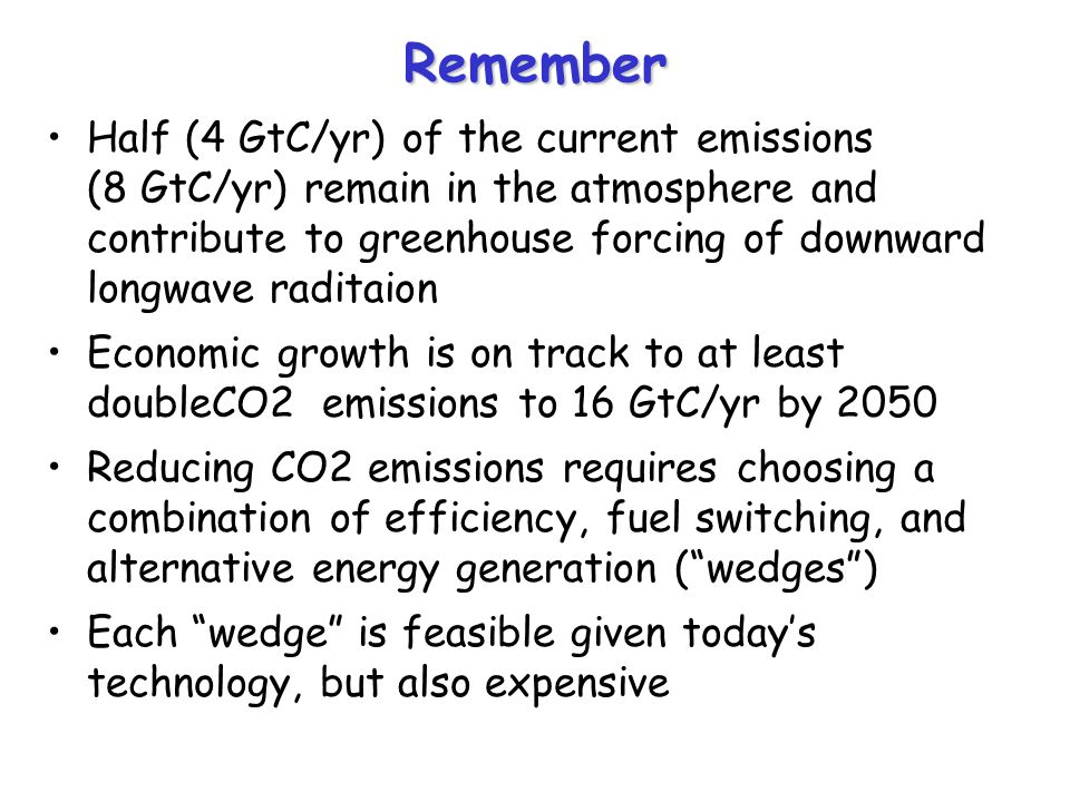 Remember Half (4 GtC/yr) of the current emissions (8 GtC/yr) remain in the atmosphere and contribute to greenhouse forcing of downward longwave raditaion Economic growth is on track to at least doubleCO2 emissions to 16 GtC/yr by 2050 Reducing CO2 emissions requires choosing a combination of efficiency, fuel switching, and alternative energy generation ( wedges ) Each wedge is feasible given today's technology, but also expensive