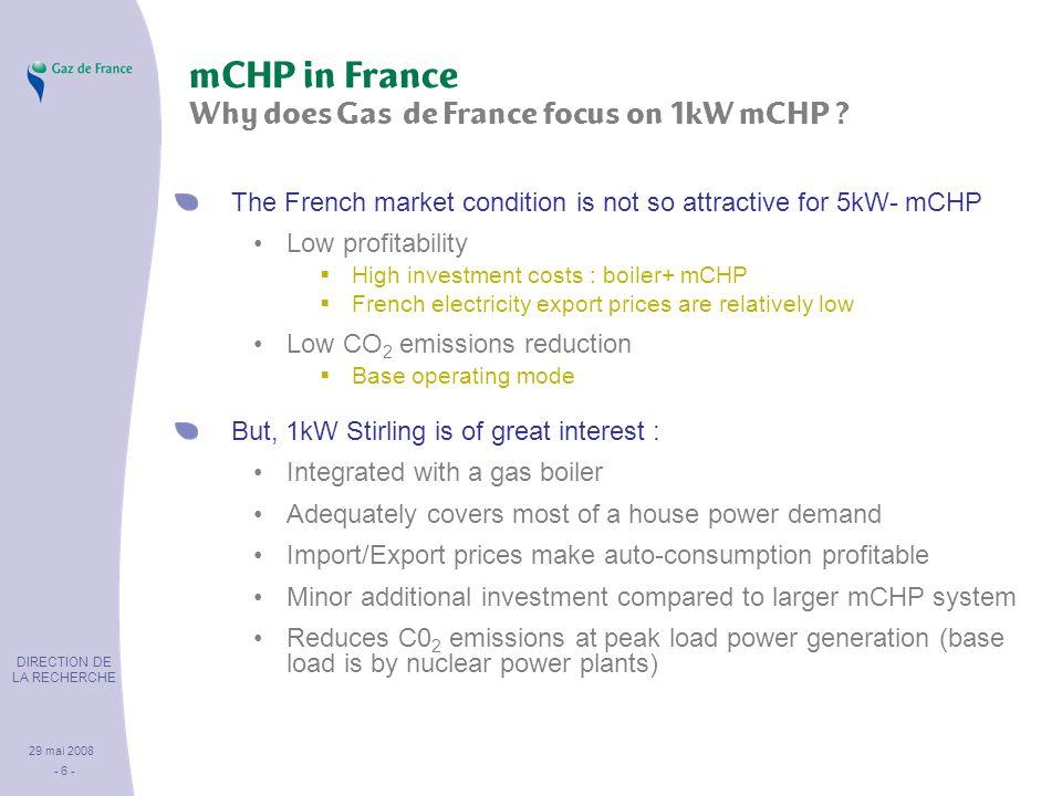 DIRECTION DE LA RECHERCHE 29 mai 2008 - 6 - mCHP in France Why does Gas de France focus on 1kW mCHP .