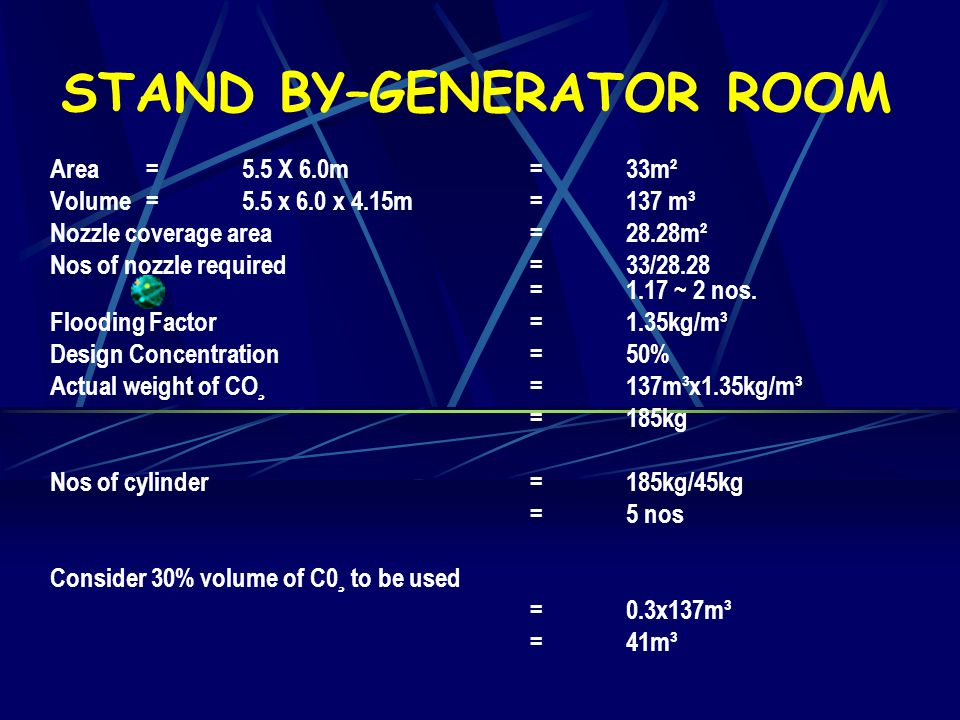 SAMPLE CALCULATION FOR CO2 SYSTEM PROJECT:NEW MORTUARY FOR PENANG HOSPITAL ROOM NAME:STANDBY-GENERATOR ROOM