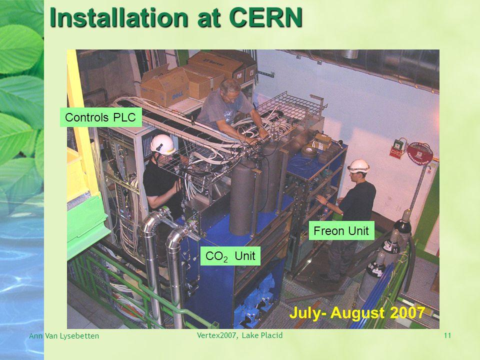 Installation at CERN July- August 2007 CO 2 Unit Freon Unit Controls PLC Ann Van Lysebetten Vertex2007, Lake Placid11