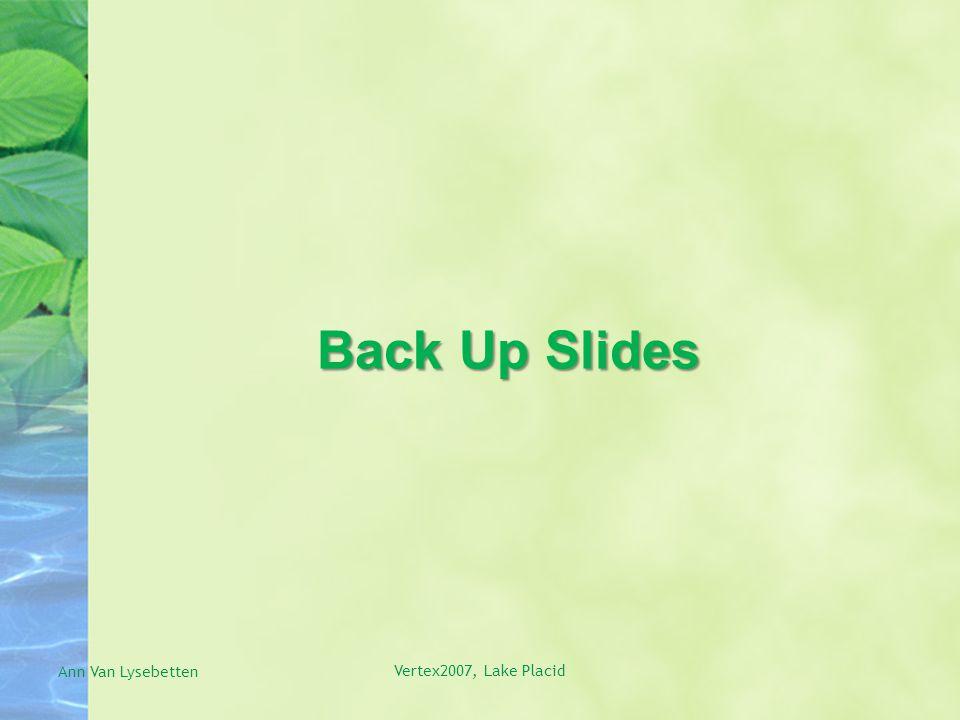 Back Up Slides Ann Van Lysebetten Vertex2007, Lake Placid