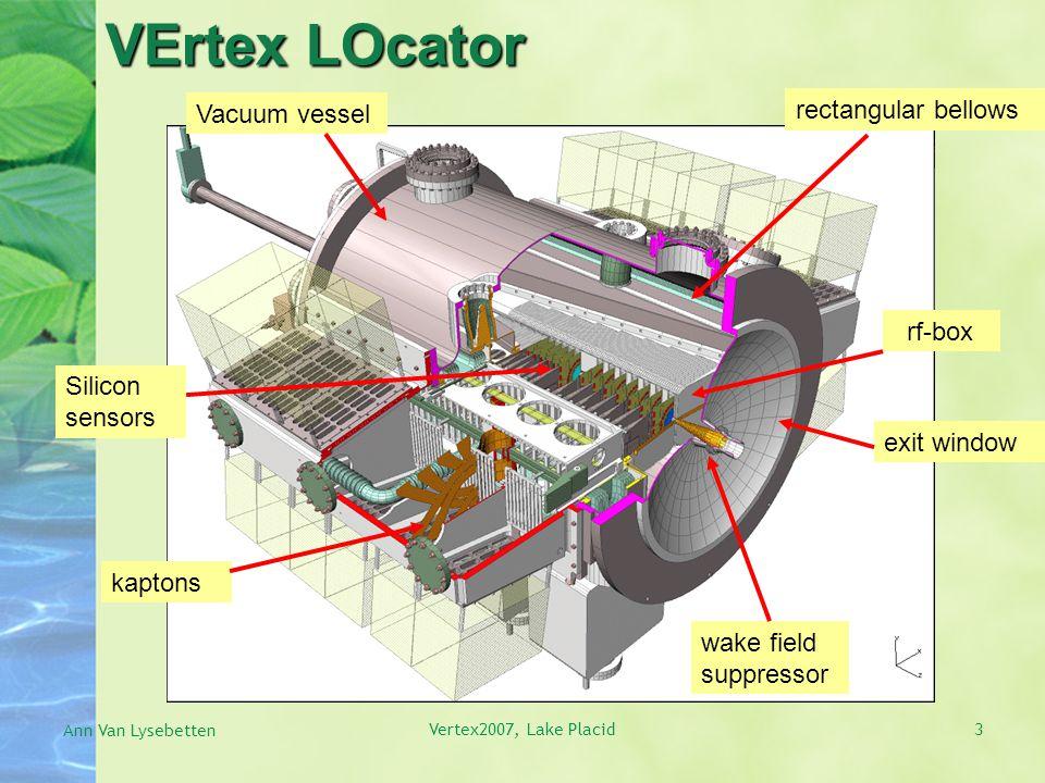 3 VErtex LOcator Silicon sensors Vacuum vessel rf-box rectangular bellows exit window wake field suppressor kaptons Ann Van Lysebetten Vertex2007, Lake Placid