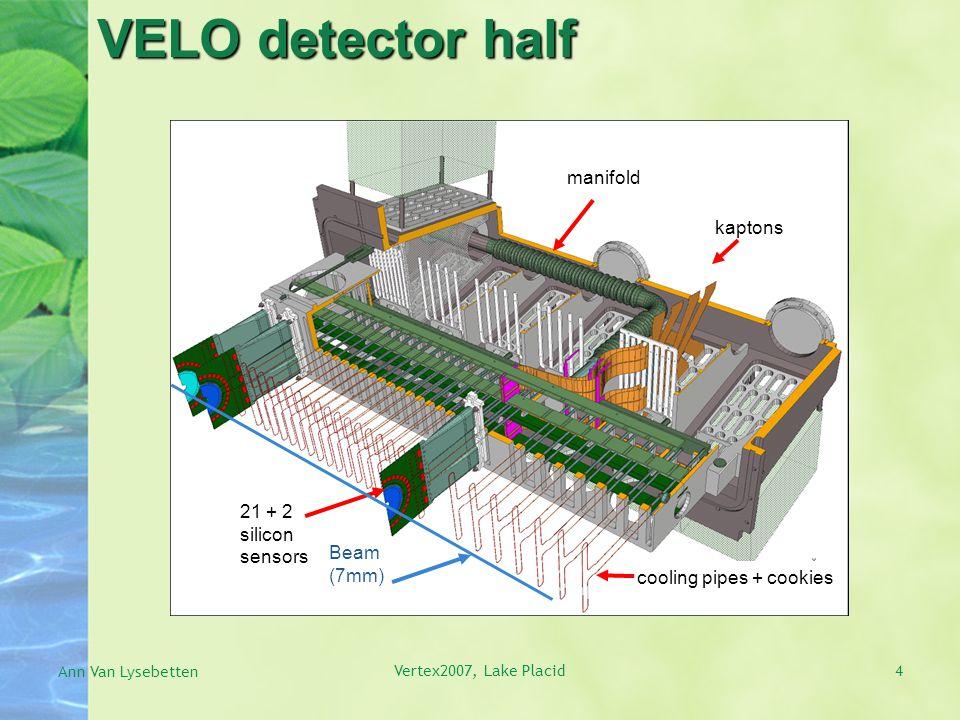 4 VELO detector half Ann Van Lysebetten Vertex2007, Lake Placid kaptons 21 + 2 silicon sensors cooling pipes + cookies manifold Beam (7mm)