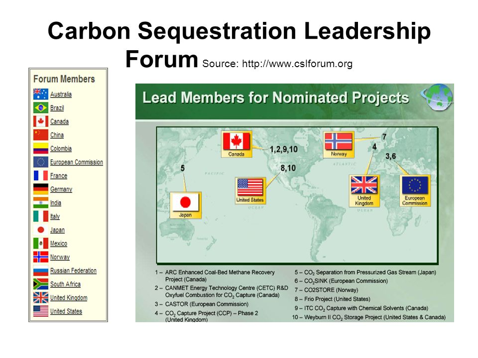 Carbon Sequestration Leadership Forum Source: http://www.cslforum.org