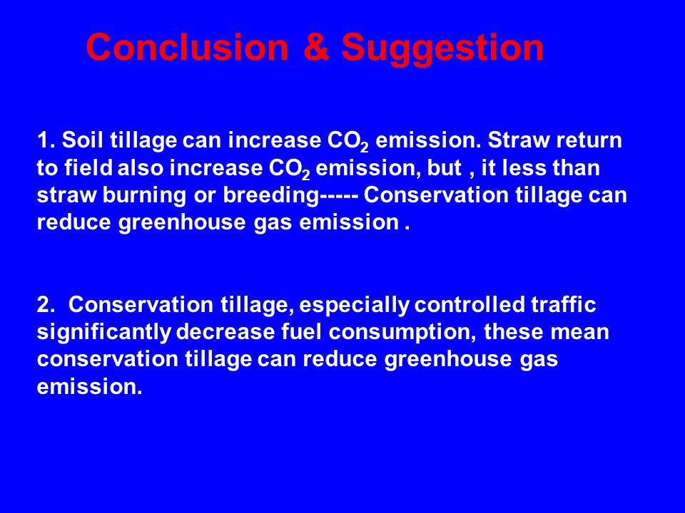 Conclusion & Suggestion 1. Soil tillage can increase CO 2 emission.