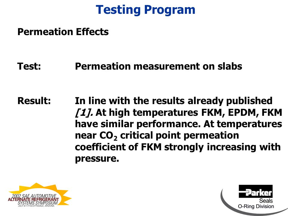Permeation Effects Test: Permeation measurement on slabs Result: In line with the results already published [1].