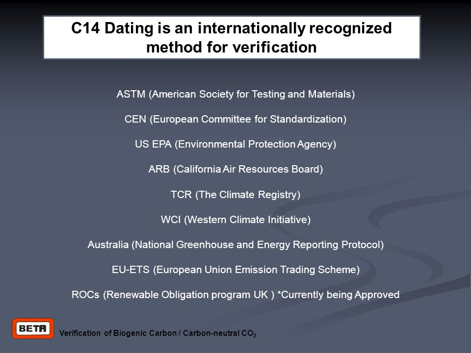Verification of Biogenic Carbon / Carbon-neutral CO 2 ASTM (American Society for Testing and Materials) CEN (European Committee for Standardization) U