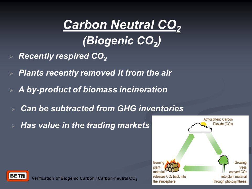 Carbon Neutral CO 2 (Biogenic CO 2 )‏  Plants recently removed it from the air  Recently respired CO 2  Can be subtracted from GHG inventories  A by-product of biomass incineration  Has value in the trading markets Verification of Biogenic Carbon / Carbon-neutral CO 2