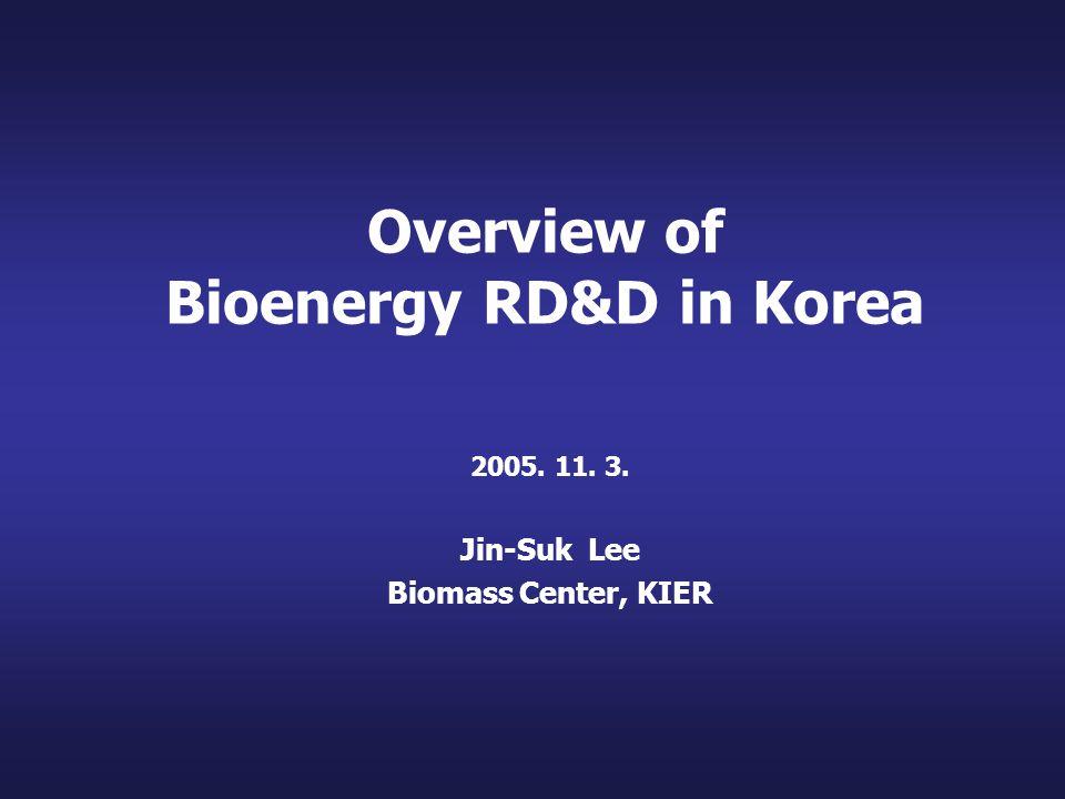 Overview of Bioenergy RD&D in Korea 2005. 11. 3. Jin-Suk Lee Biomass Center, KIER