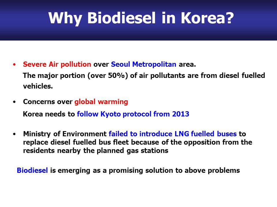 Why Biodiesel in Korea. Severe Air pollution over Seoul Metropolitan area.
