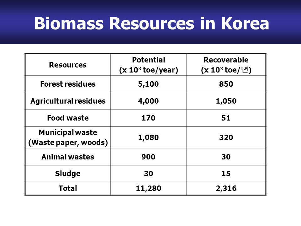 Biomass Resources in Korea Resources Potential (x 10 3 toe/year) Recoverable (x 10 3 toe/ 년 ) Forest residues5,100850 Agricultural residues4,0001,050 Food waste17051 Municipal waste (Waste paper, woods) 1,080320 Animal wastes90030 Sludge3015 Total11,2802,316 Biomass Resources in Korea