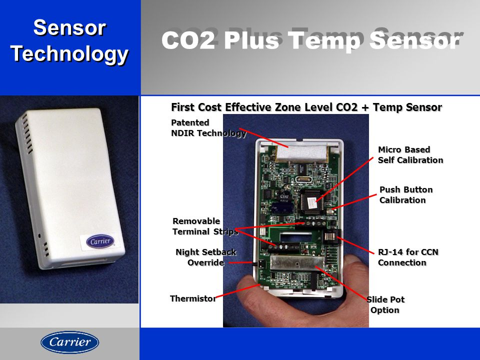 CO2 Plus Temp Sensor First Cost Effective Zone Level CO2 + Temp Sensor Thermistor Night Setback Override Removable Terminal Strips Patented NDIR Technology RJ-14 for CCN Connection Micro Based Self Calibration Slide Pot Option Push Button Calibration Sensor Technology Sensor Technology