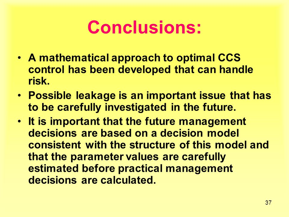 37 Conclusions: A mathematical approach to optimal CCS control has been developed that can handle risk.