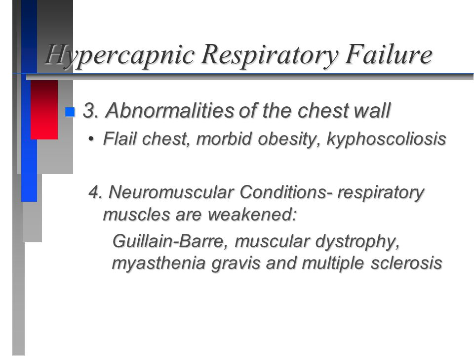 Hypercapnic Respiratory Failure n 3. Abnormalities of the chest wall Flail chest, morbid obesity, kyphoscoliosisFlail chest, morbid obesity, kyphoscol