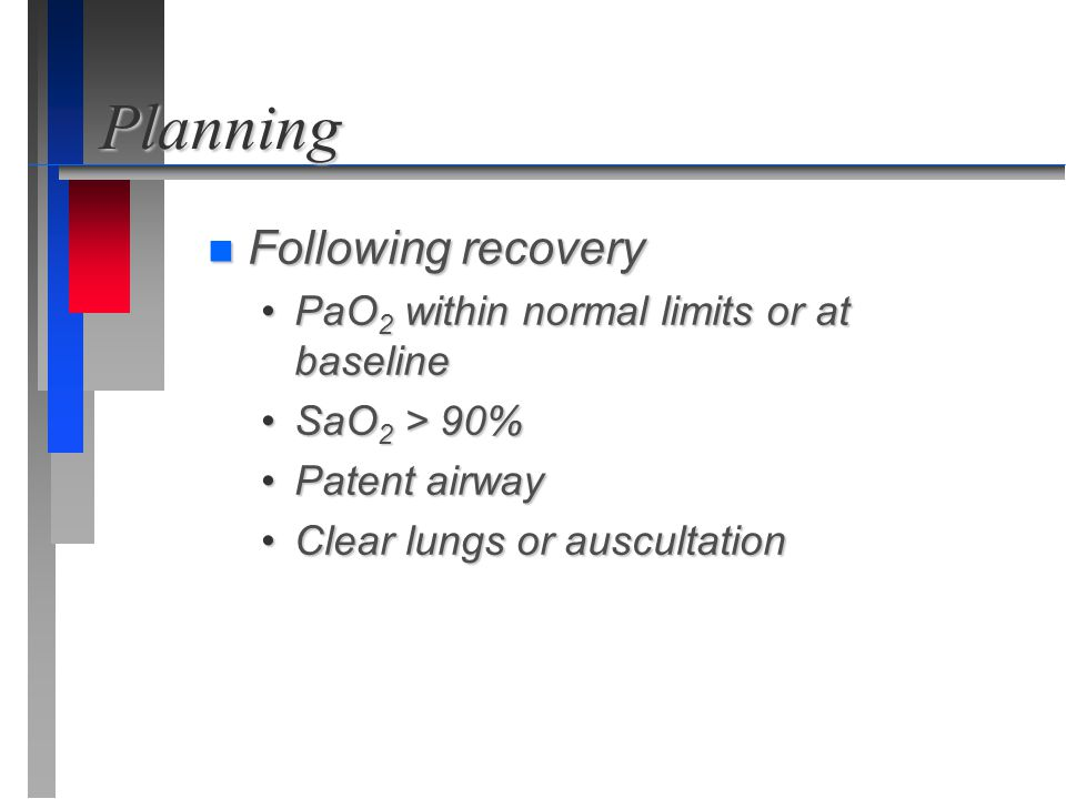 Planning n Following recovery PaO 2 within normal limits or at baselinePaO 2 within normal limits or at baseline SaO 2 > 90%SaO 2 > 90% Patent airwayP