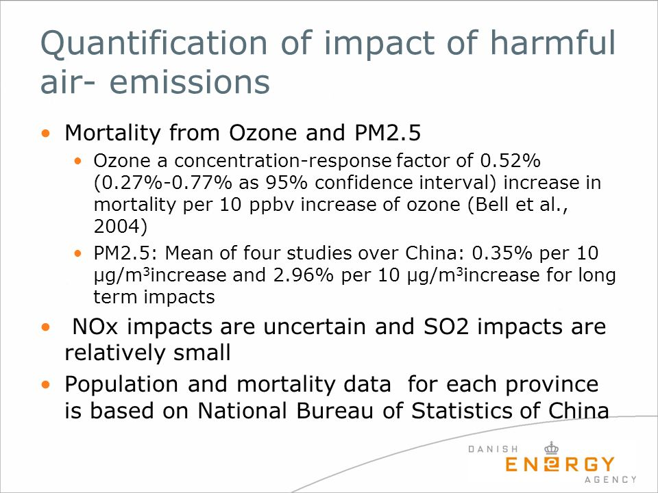 Quantification of impact of harmful air- emissions Mortality from Ozone and PM2.5 Ozone a concentration-response factor of 0.52% (0.27%-0.77% as 95% c