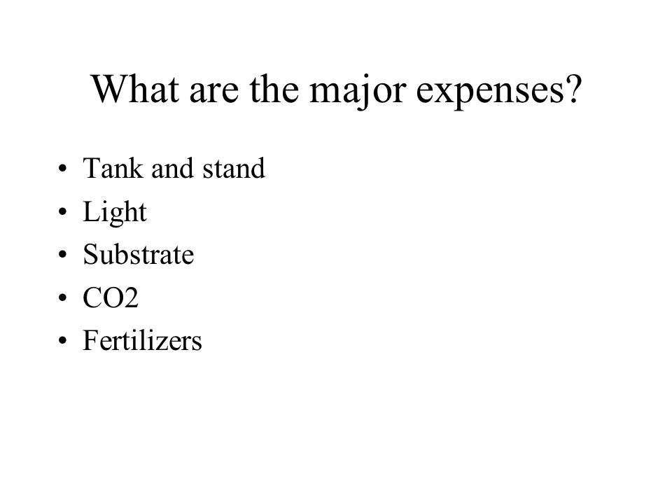 What are the major expenses Tank and stand Light Substrate CO2 Fertilizers