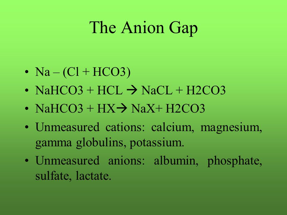 The Anion Gap Na – (Cl + HCO3) NaHCO3 + HCL  NaCL + H2CO3 NaHCO3 + HX  NaX+ H2CO3 Unmeasured cations: calcium, magnesium, gamma globulins, potassium.