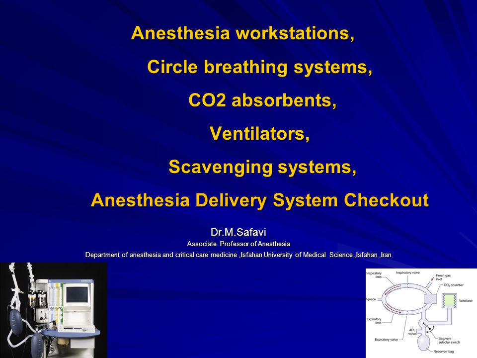 Anesthesia workstations, Circle breathing systems, CO2 absorbents, Ventilators, Scavenging systems, Anesthesia Delivery System Checkout Anesthesia wor