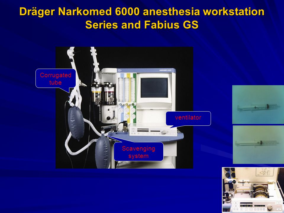 Dräger Narkomed 6000 anesthesia workstation Series and Fabius GS ventilator Scavenging system Corrugated tube