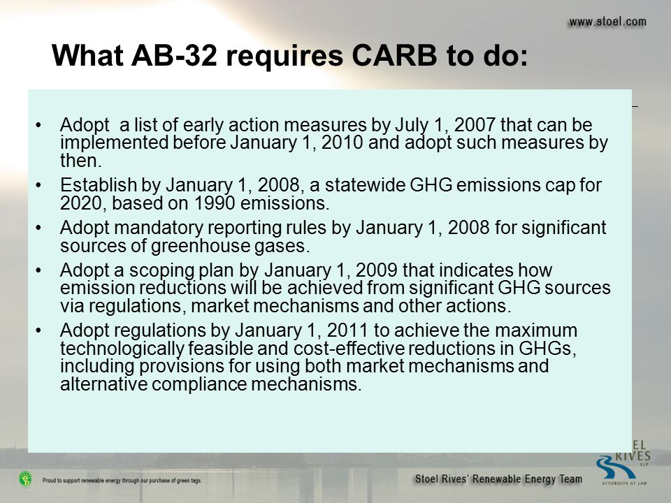 Adopt a list of early action measures by July 1, 2007 that can be implemented before January 1, 2010 and adopt such measures by then. Establish by Jan