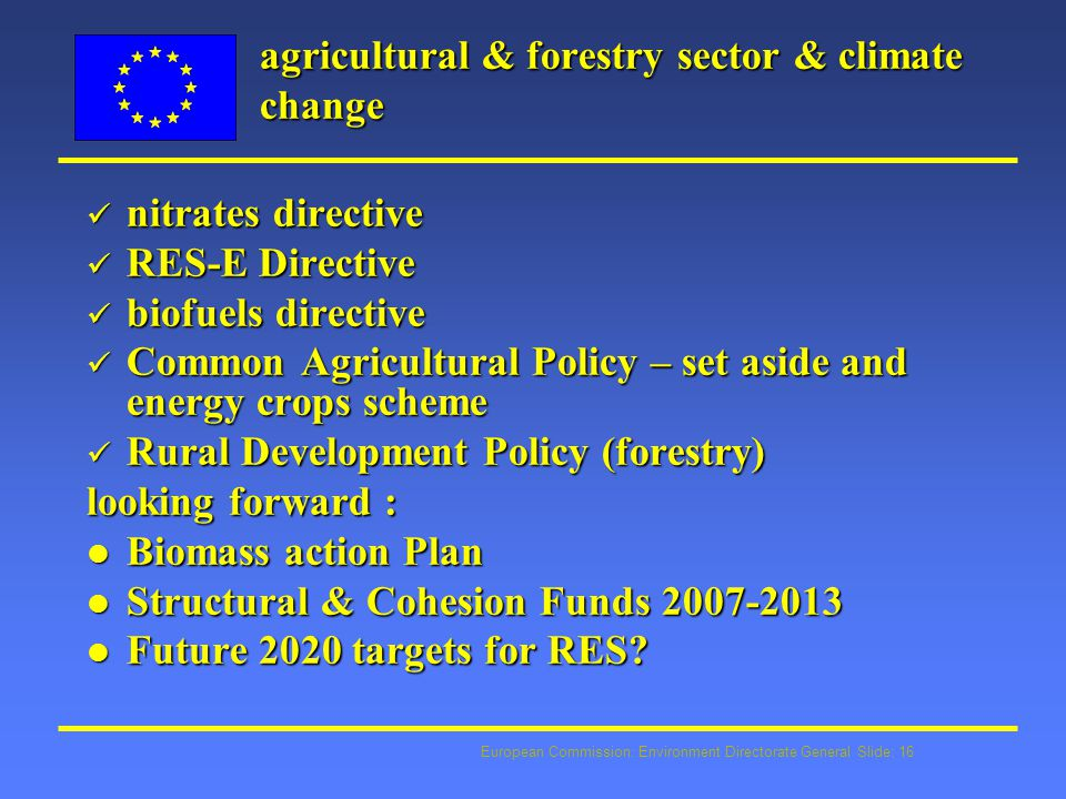 European Commission: Environment Directorate General Slide: 16 agricultural & forestry sector & climate change nitrates directive nitrates directive RES-E Directive RES-E Directive biofuels directive biofuels directive Common Agricultural Policy – set aside and energy crops scheme Common Agricultural Policy – set aside and energy crops scheme Rural Development Policy (forestry) Rural Development Policy (forestry) looking forward : l Biomass action Plan l Structural & Cohesion Funds 2007-2013 l Future 2020 targets for RES