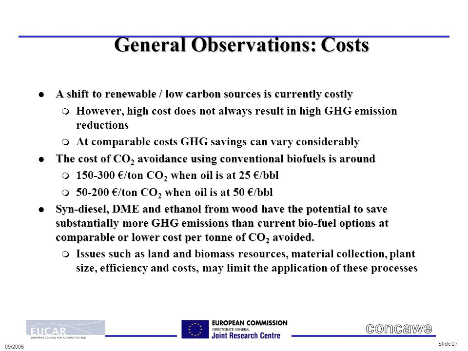 09/2005 Slide 27 General Observations: Costs l A shift to renewable / low carbon sources is currently costly m However, high cost does not always result in high GHG emission reductions m At comparable costs GHG savings can vary considerably l The cost of CO 2 avoidance using conventional biofuels is around m 150-300 €/ton CO 2 when oil is at 25 €/bbl m 50-200 €/ton CO 2 when oil is at 50 €/bbl l Syn-diesel, DME and ethanol from wood have the potential to save substantially more GHG emissions than current bio-fuel options at comparable or lower cost per tonne of CO 2 avoided.