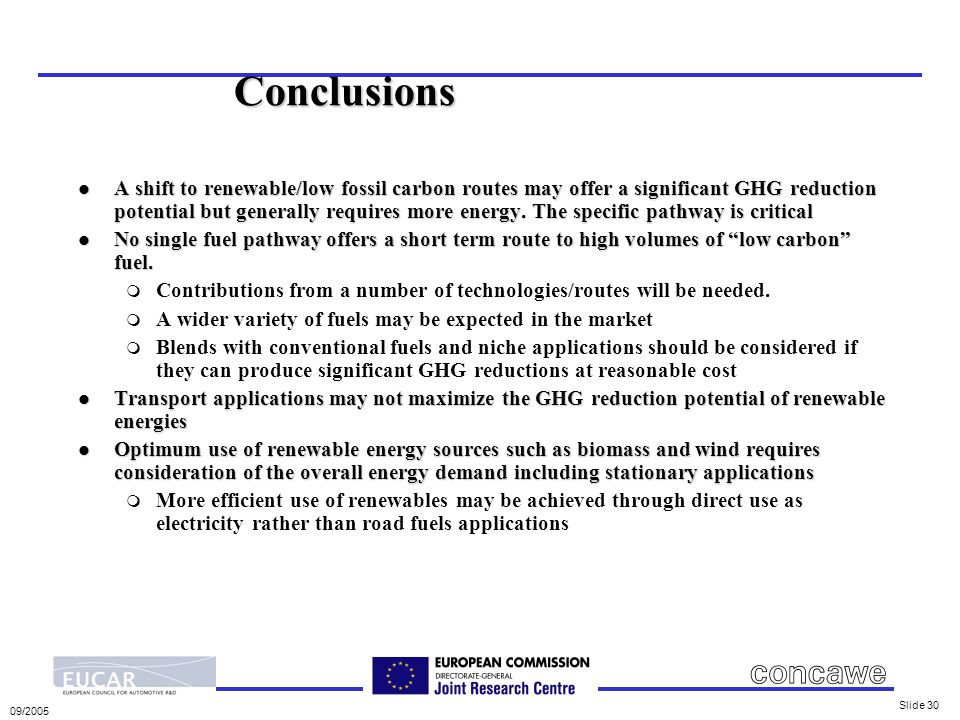 09/2005 Slide 30 Conclusions l A shift to renewable/low fossil carbon routes may offer a significant GHG reduction potential but generally requires more energy.