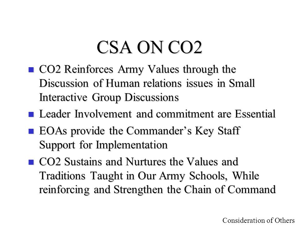 Consideration of Others CO2 Handbook n Draft format available n 3 Sections –Concept Brief description of conceptBrief description of concept –Focus Areas Broken down to 8 focus areasBroken down to 8 focus areas –Lesson Plans 17 original lesson plans17 original lesson plans