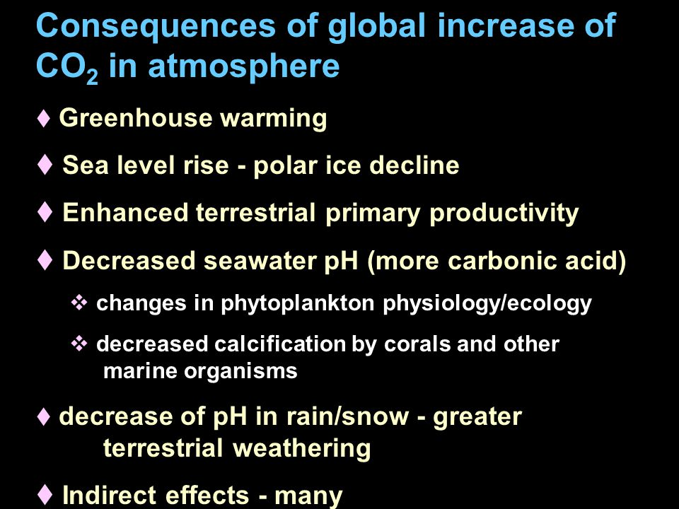 Consequences of global increase of CO 2 in atmosphere t Greenhouse warming t Sea level rise - polar ice decline t Enhanced terrestrial primary productivity t Decreased seawater pH (more carbonic acid)  changes in phytoplankton physiology/ecology  decreased calcification by corals and other marine organisms t decrease of pH in rain/snow - greater terrestrial weathering t Indirect effects - many