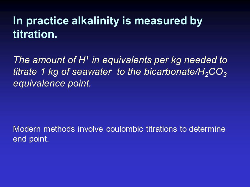 In practice alkalinity is measured by titration.