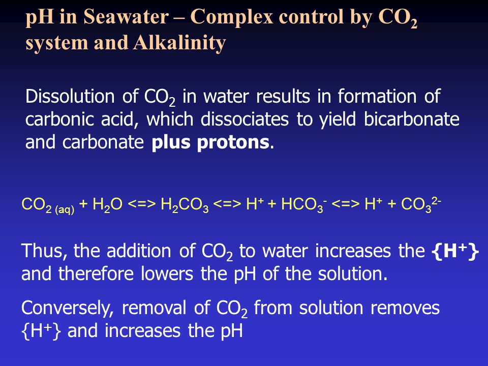 Dissolution of CO 2 in water results in formation of carbonic acid, which dissociates to yield bicarbonate and carbonate plus protons.