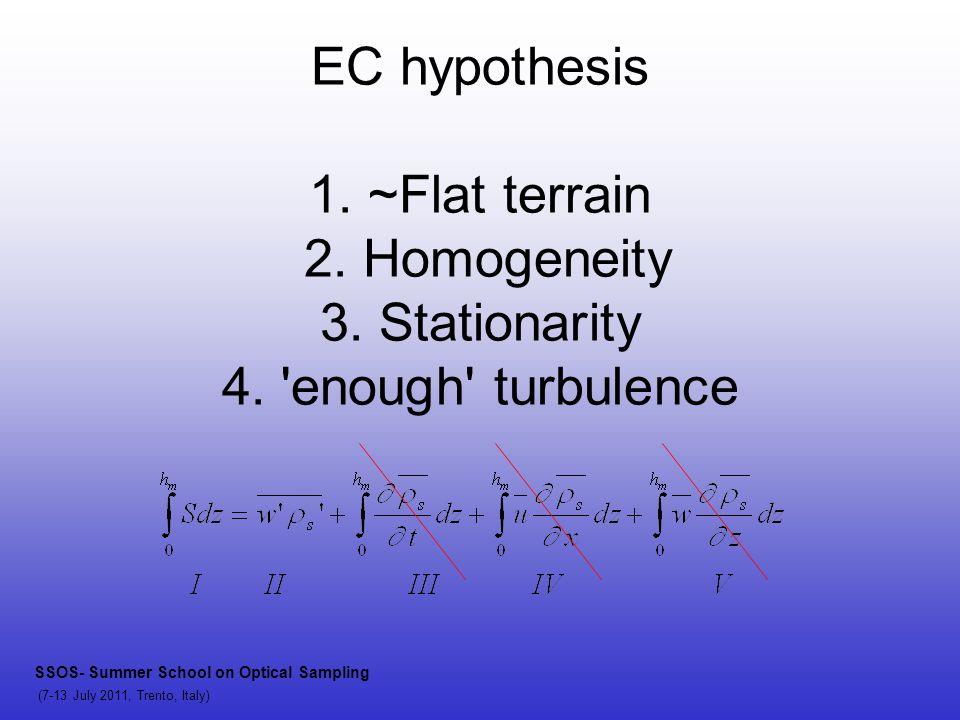 EC hypothesis 1. ~Flat terrain 2. Homogeneity 3.