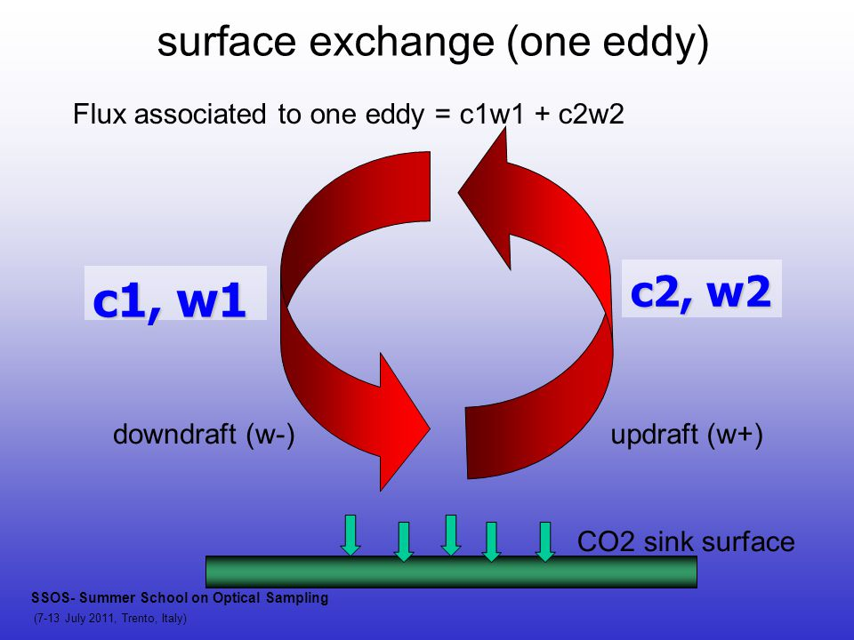 c1, w1 c2, w2 surface exchange (one eddy) CO2 sink surface downdraft (w-)updraft (w+) SSOS- Summer School on Optical Sampling (7-13 July 2011, Trento, Italy) Flux associated to one eddy = c1w1 + c2w2