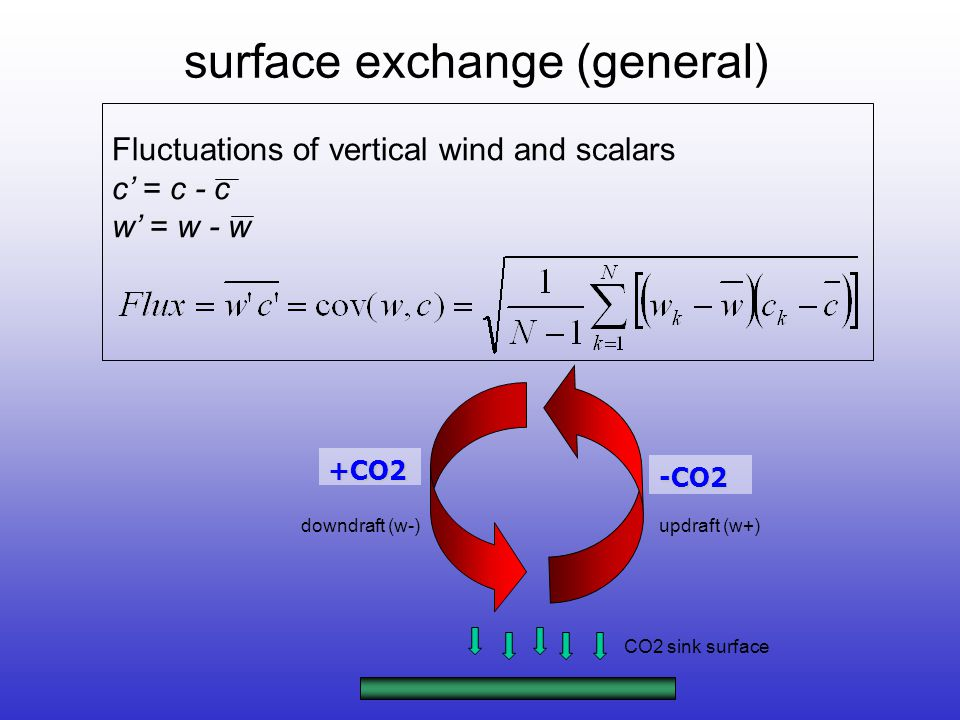 Fluctuations of vertical wind and scalars c' = c - c w' = w - w +CO2 -CO2 CO2 sink surface downdraft (w-)updraft (w+) surface exchange (general)