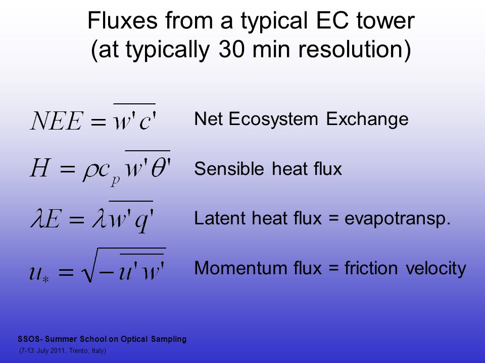Fluxes from a typical EC tower (at typically 30 min resolution) Net Ecosystem Exchange Sensible heat flux Latent heat flux = evapotransp. Momentum flu