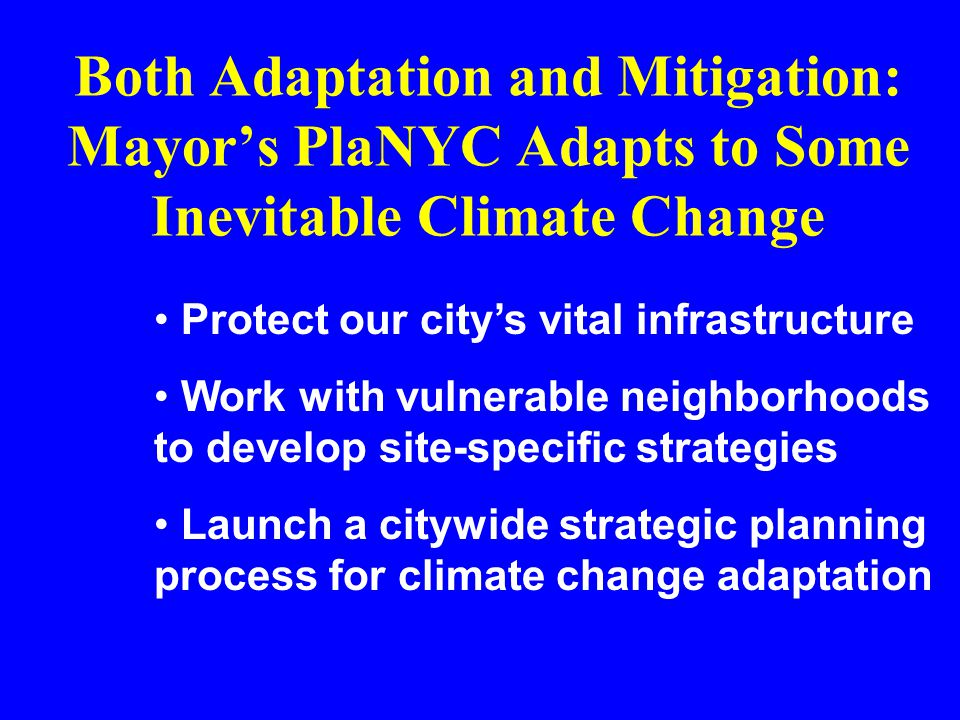 Both Adaptation and Mitigation: Mayor's PlaNYC Adapts to Some Inevitable Climate Change Protect our city's vital infrastructure Work with vulnerable neighborhoods to develop site-specific strategies Launch a citywide strategic planning process for climate change adaptation
