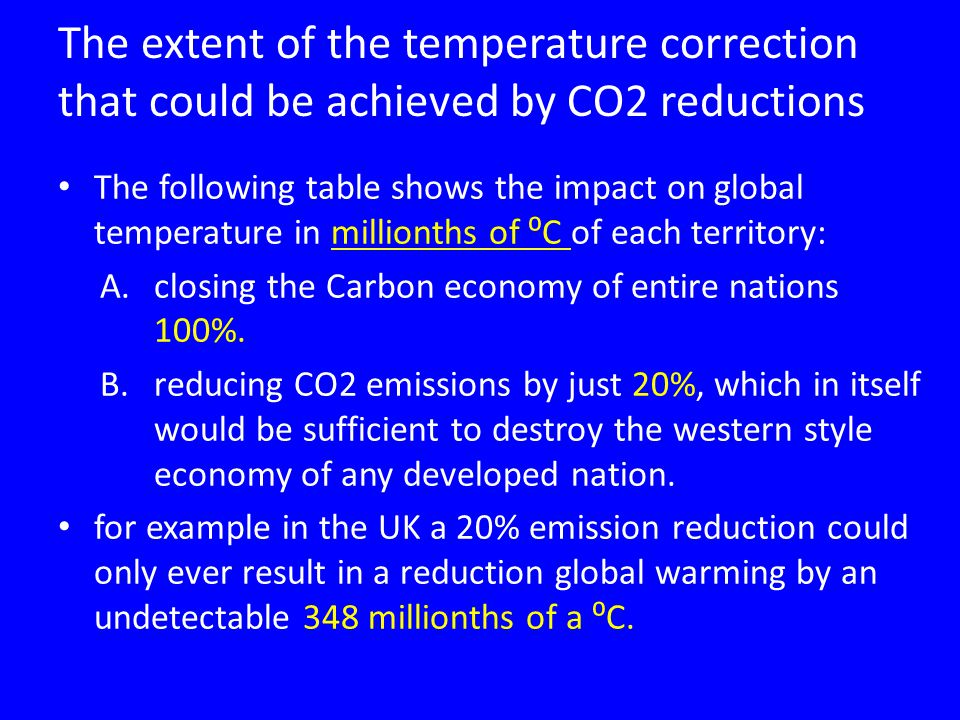 The extent of the temperature correction that could be achieved by CO2 reductions The following table shows the impact on global temperature in millionths of ⁰C of each territory: A.closing the Carbon economy of entire nations 100%.