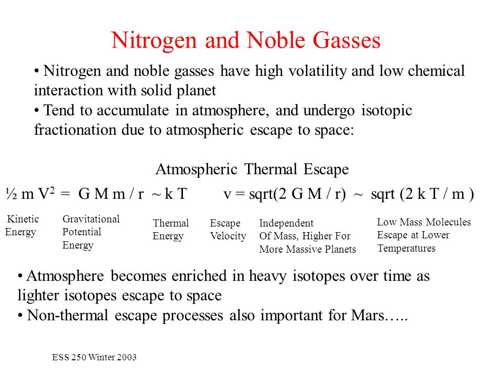 ESS 250 Winter 2003 Nitrogen and Noble Gasses Nitrogen and noble gasses have high volatility and low chemical interaction with solid planet Tend to accumulate in atmosphere, and undergo isotopic fractionation due to atmospheric escape to space: Atmospheric Thermal Escape ½ m V 2 = G M m / r ~ k T v = sqrt(2 G M / r) ~ sqrt (2 k T / m ) Kinetic Energy Gravitational Potential Energy Thermal Energy Escape Velocity Independent Of Mass, Higher For More Massive Planets Low Mass Molecules Escape at Lower Temperatures Atmosphere becomes enriched in heavy isotopes over time as lighter isotopes escape to space Non-thermal escape processes also important for Mars…..