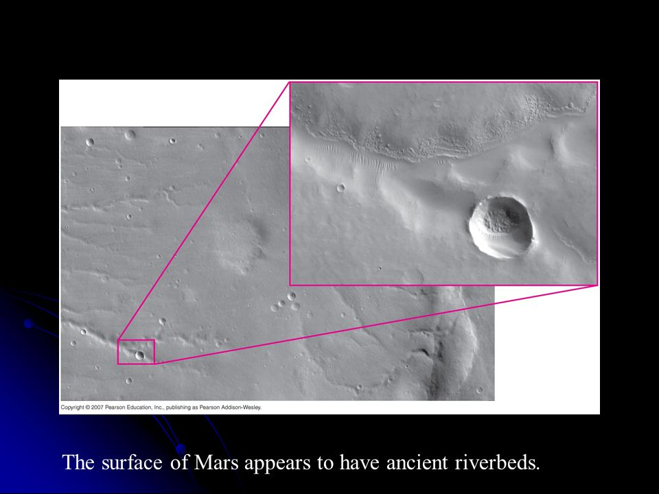 The surface of Mars appears to have ancient riverbeds.