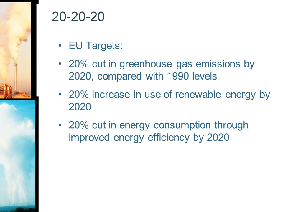 20-20-20 EU Targets: 20% cut in greenhouse gas emissions by 2020, compared with 1990 levels 20% increase in use of renewable energy by 2020 20% cut in