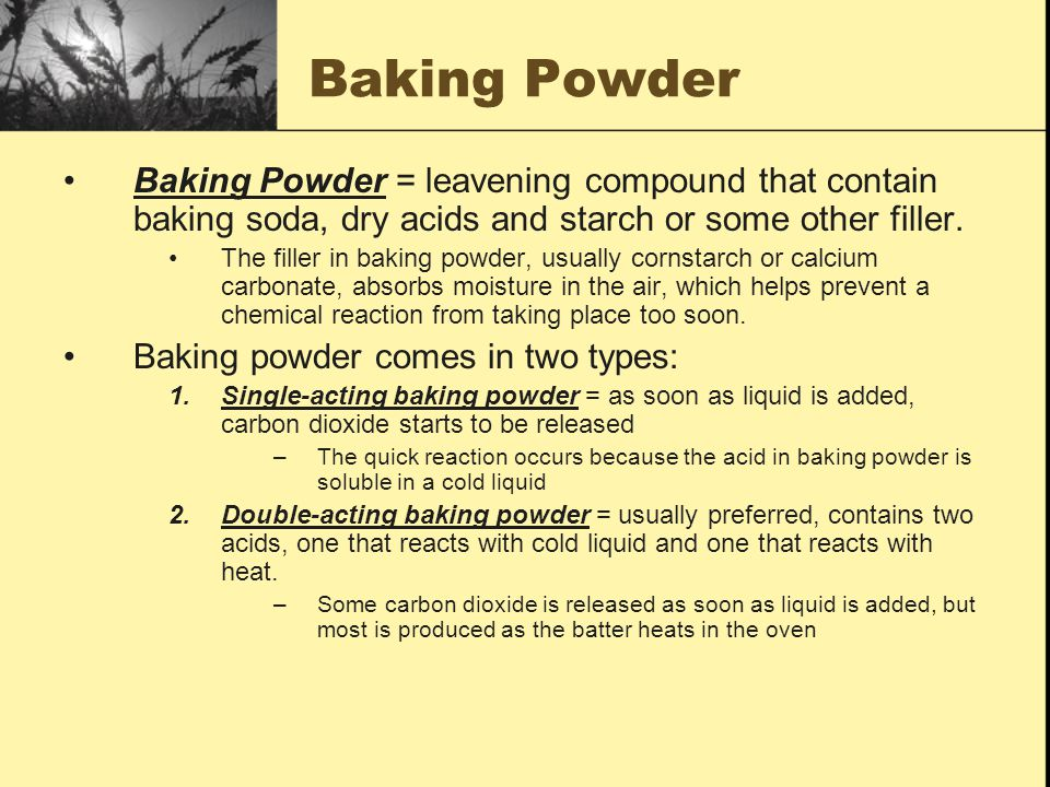 The Strength of Baking Powder http://chemistry.about.com/cs/foodchemistry/f/blbaking.htm?p=1 By federal law, baking powder must yield at least 12%.