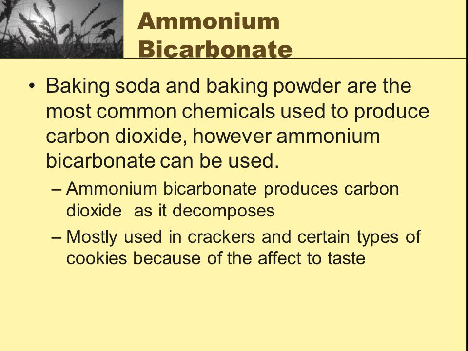 Ammonium Bicarbonate Baking soda and baking powder are the most common chemicals used to produce carbon dioxide, however ammonium bicarbonate can be u