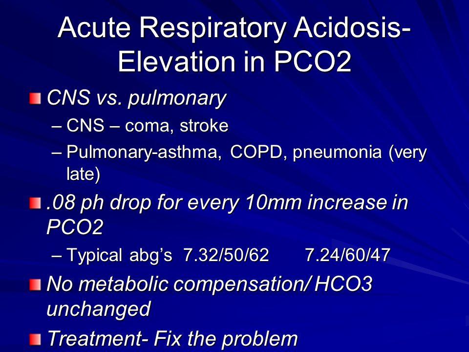 Acute Respiratory Acidosis- Elevation in PCO2 CNS vs. pulmonary –CNS – coma, stroke –Pulmonary-asthma, COPD, pneumonia (very late).08 ph drop for ever